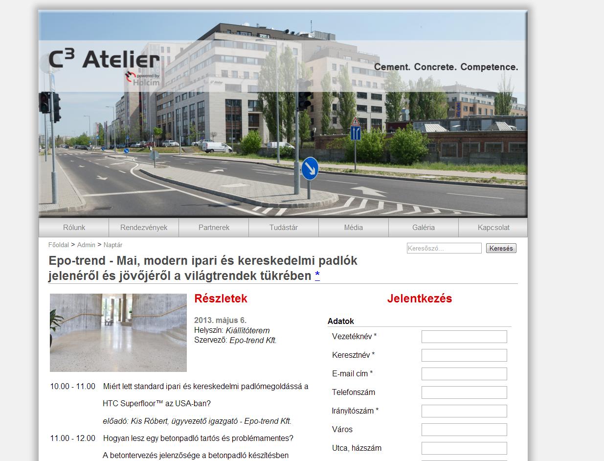 Elindult a c3atelier.hu, a Holcim Magyarország által szervezett kiállítás bemutatkozóoldala.